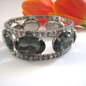 Womens Gray Silver Clear Rhinestone Bracelet